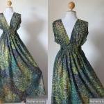 Peacock Maxi Dress - Boho Sexy Plun..