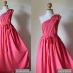 One Shoulder Dress Pink Evening Gow..