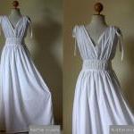 White Evening Dress - high waist br..