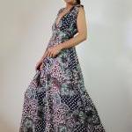 Paisley Maxi Dress Comfy Low V-neck..