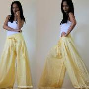 Light Yellow Wide Leg Pants Cotton Linen Casual Wear : Soul of the Orient Collection
