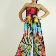 Jumpsuit Tie Dye Hippie Boho Jumper Tube maxi dress : Exotic Collection