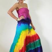 Tie Dye Dress Boho Hippie Funky Smocked Maxi Dress : Exotic Collection