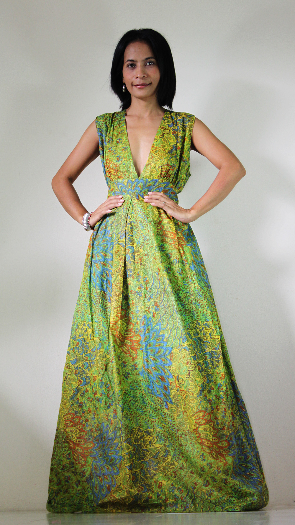 Peacock Maxi Dress - Boho Sexy Plunging V-neck Long Evening Gown : Oriental Secrets Collection