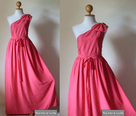 One Shoulder Dress Pink Evening Gown Prom Bridesmaid Long Maxi Dress : Prom Queen Collection