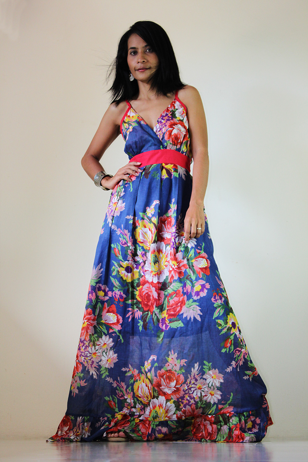 dde964564e6 Floral Maxi Dress Blue Summer Cotton Cute V Neck : Sweetie Vintage  Collection
