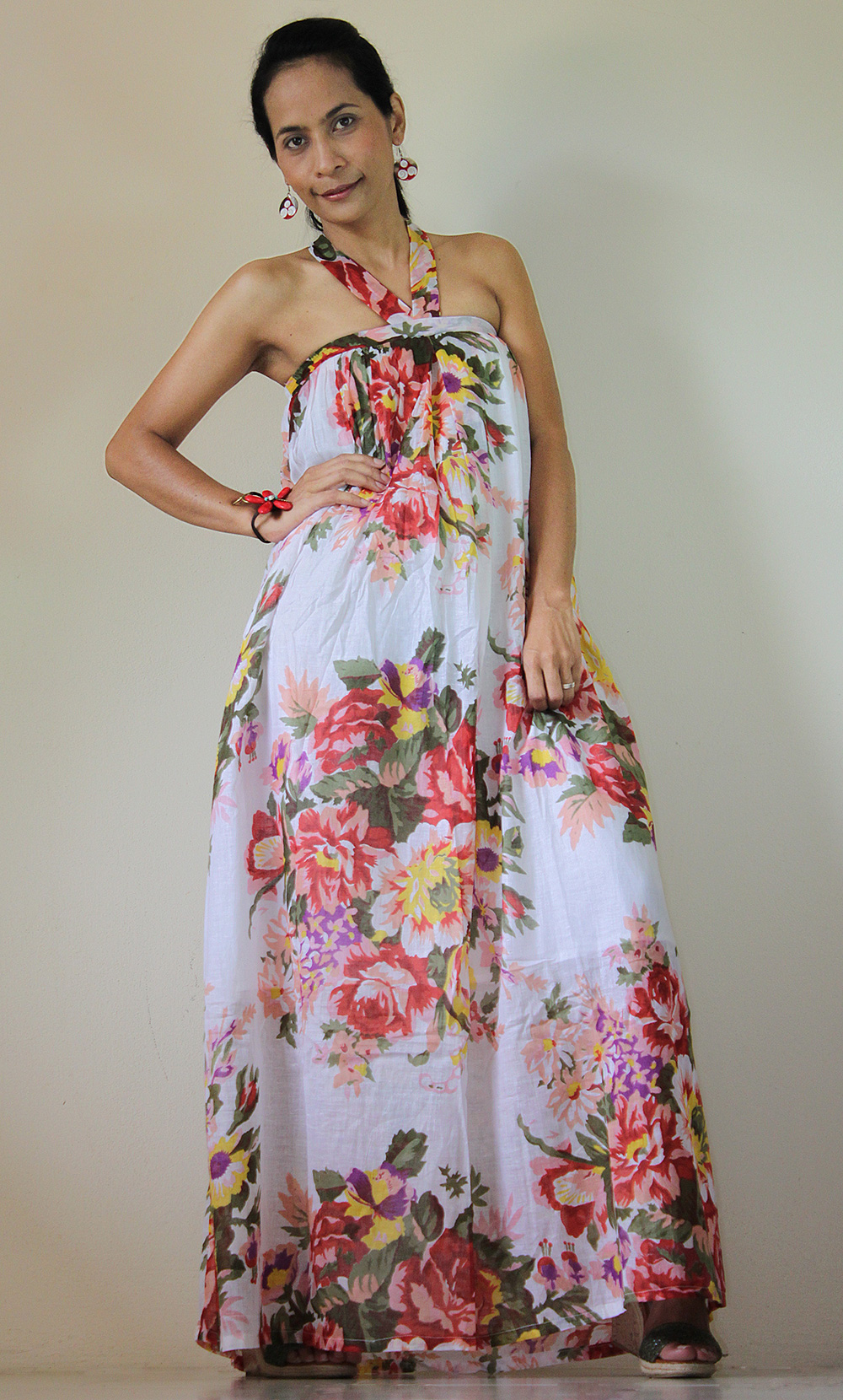 0b6d33622eb Floral Maxi Dress Party Bridesmaid Stylish Tube Halter Spring Summer Gown    Flower Blossom Collection