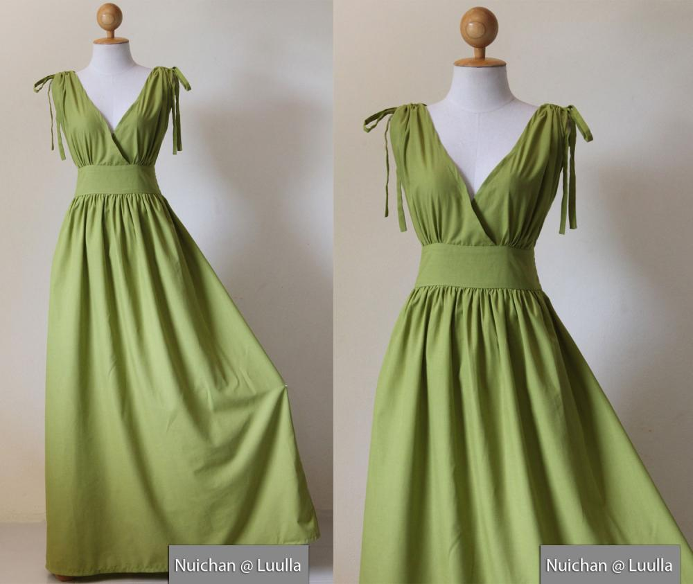 Green Maxi Dress - Sleeveless or Short Sleeve Cotton Evening Dress : Classy Gorgeous Collection