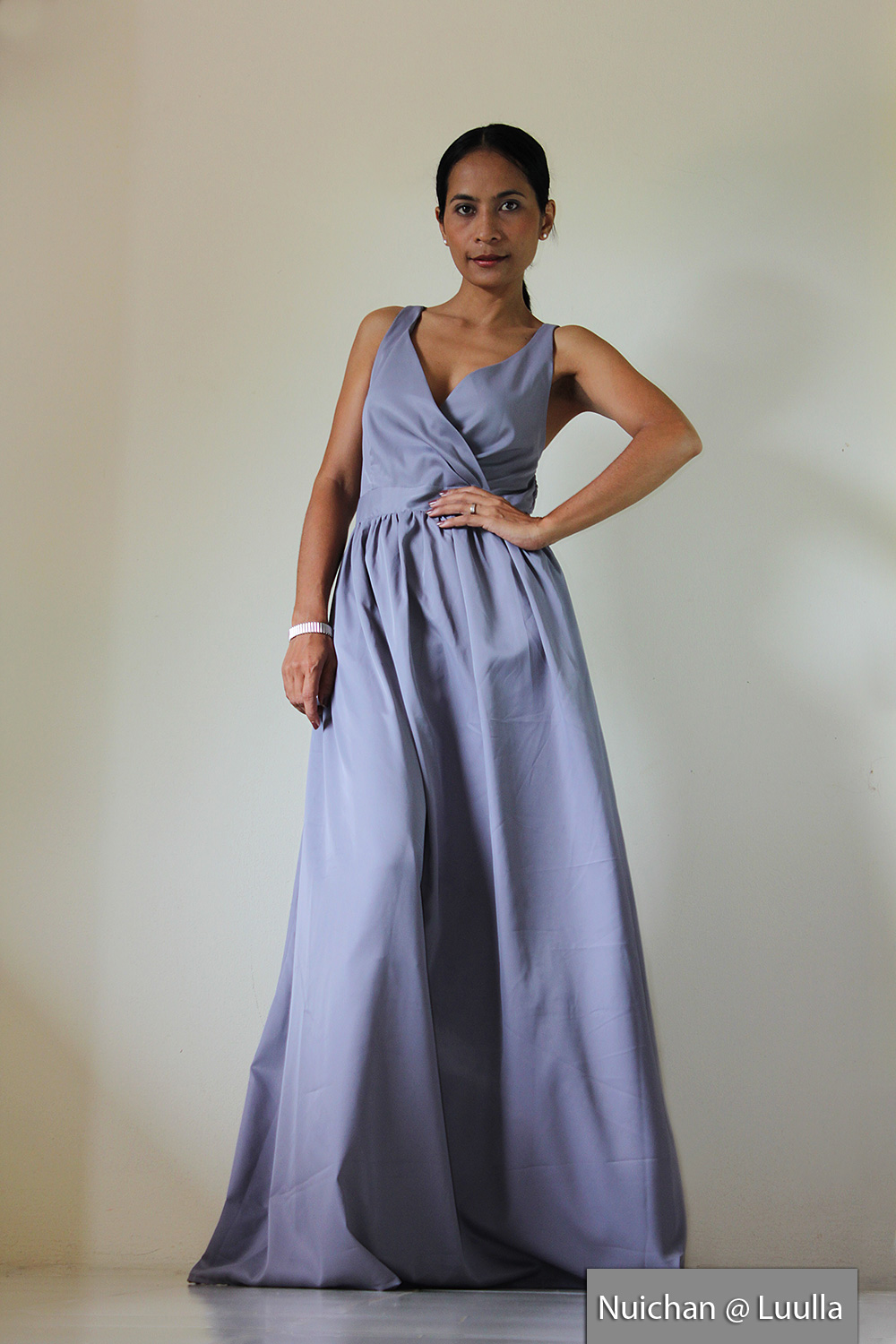 Grey Bridesmaid dress - Maxi dress Classy Sexy Pleated V shape Sleeveless Formal Long Evening Gown: Bussaba My Endless Love Collection