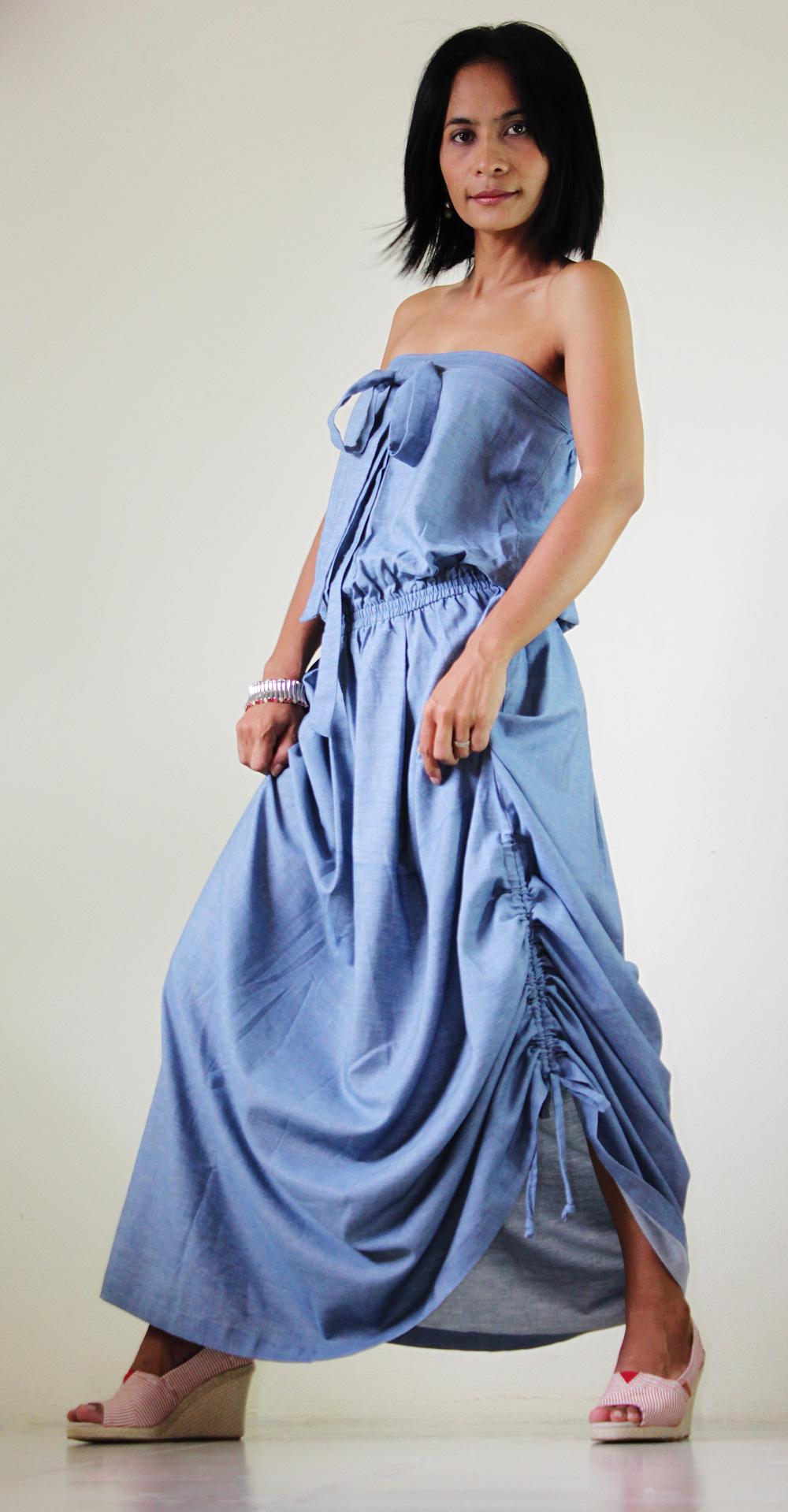 Denim Dress Long Light Blue Cotton Stonewashed Summer Maxi Sun dress : New Morning Sunshine Collection
