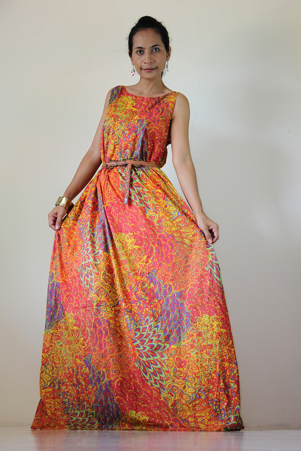 eebbefac4d4 Peacock Maxi Dress Funky Casual Sleevesless Long gown   Happy Holiday  Collection