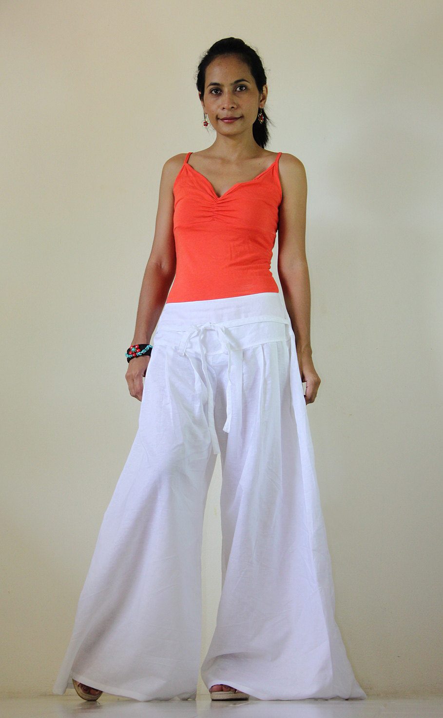 f52851337552 White Pants - Wide Leg Pants Cotton Linen Casual Wear : Soul of the Orient  Collection