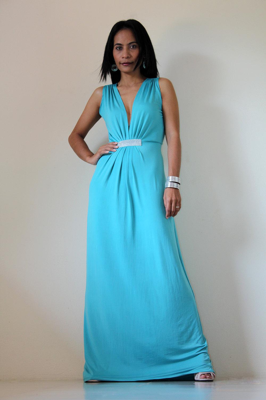 Long blue Maxi Evening Dress : Elegant Collection