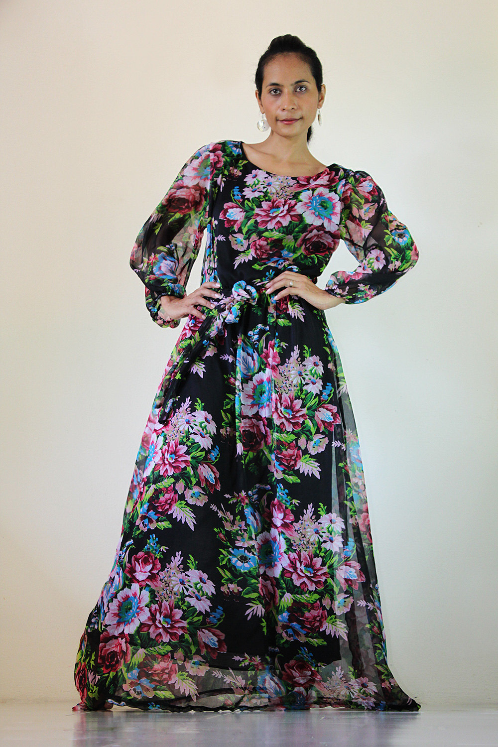 4491ff0e91d Black Chiffon Dress Long Maxi Dress Flower Print   Smooth as Silk  Collection IV