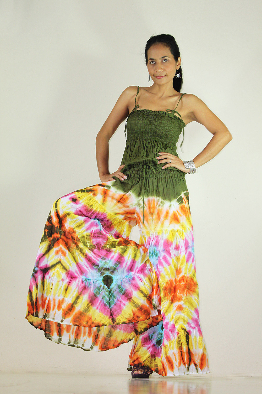 Jumpsuit Tie Dye Hippie Boho Jumper Tube maxi dress : Exotic Collection