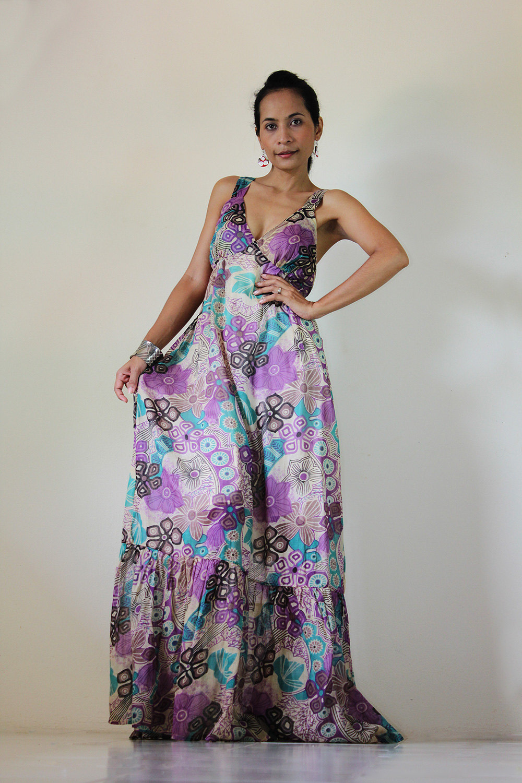 Boho Maxi Dress Cotton Bohemian Sleeveless Long Gown : Kiss Of The ...