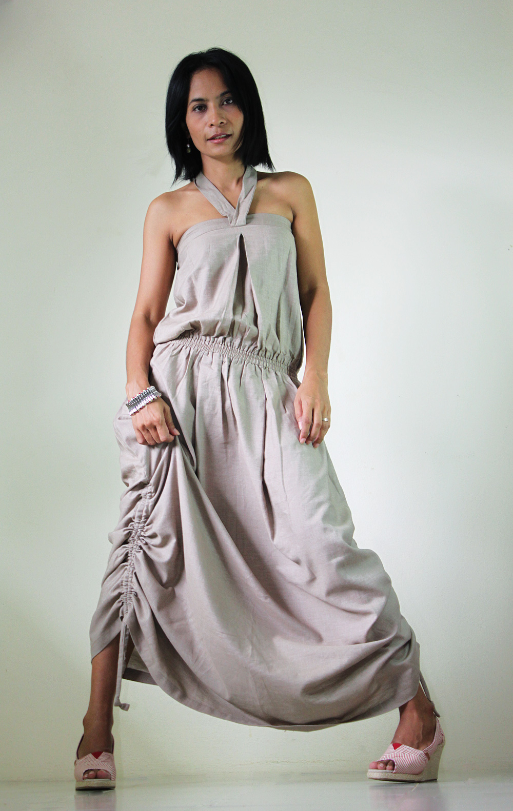 Denim Dress Cotton Stonewashed Summer Maxi Sun dress : New Morning Sunshine Collection
