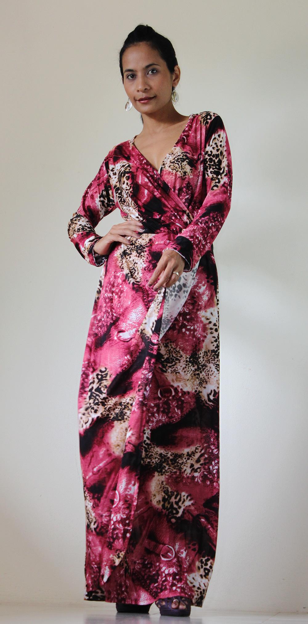Long Sleeve Dress - Purple Print Evening Gown