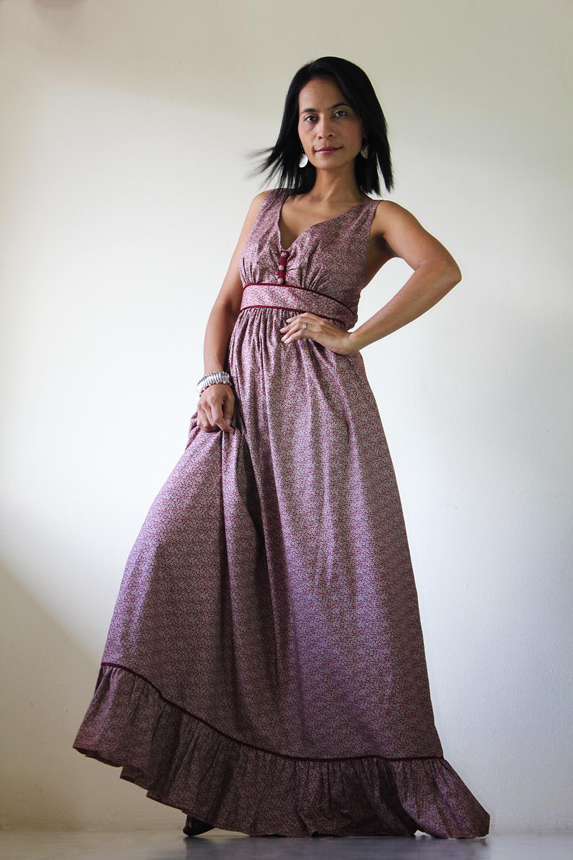 Long Maxi Dress - Flower Print Summer Dress : You Wear it Well Collection
