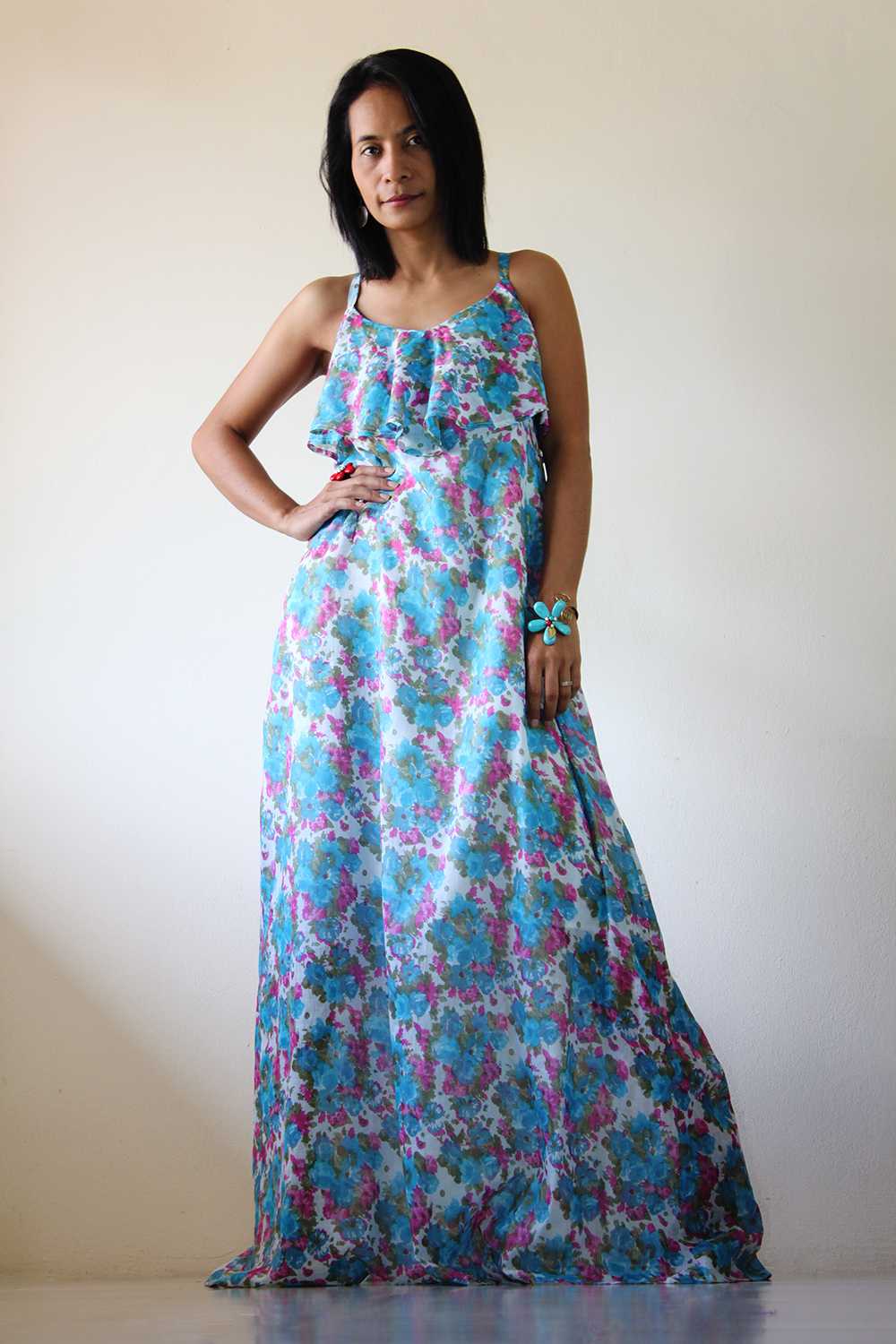 Casual Maxi Dress Floral Bohemian Cocktail Summer Dress -6500