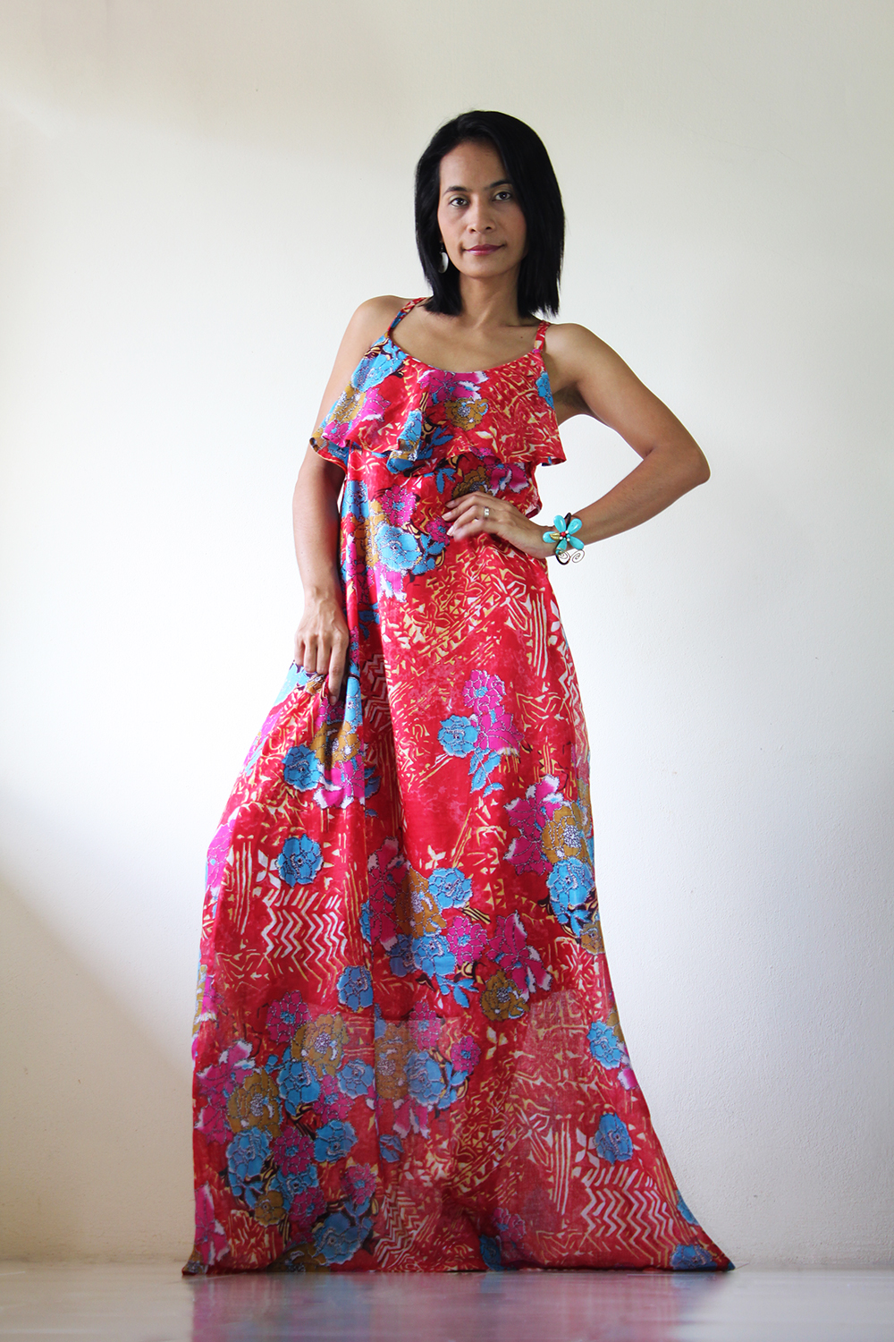Long Summer Dress Maxi Floral Bohemian Cocktail Gown : Sunny Dreams Collection