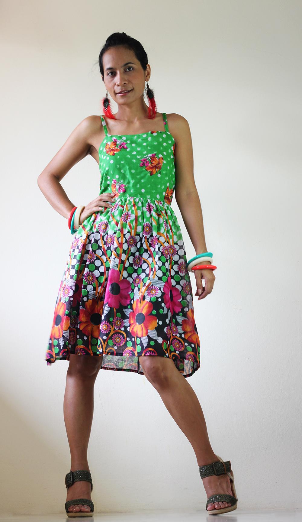 Short Dress Summer - Floral Polka Dot smock dress