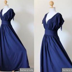 Navy Blue Maxi Dress - Sleeveless or Short Sleeve Cotton Evening Dress : Classy Gorgeous Collection
