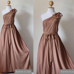 One Shoulder Dress - Bridesmaid Dress Evening Long Gown Caramel Maxi Dress : Prom Queen Collection