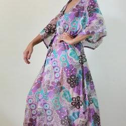 Maxi Dress Kaftan Long Boho Gown with lovely flower print : Bohemian Kaftan Collection