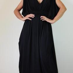 Long Black Funky Kimono Butterfly Tube Maxi Dress: Elegant Collection