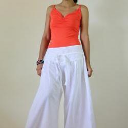 White Pants - Wide Leg Pants Cotton Linen Casual Wear : Soul of the Orient Collection