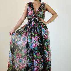Chiffon Maxi Dress Gorgeous Black Comfy Low V shaped Ruffle Sleeveless Gown : Smooth as Silk Collection II