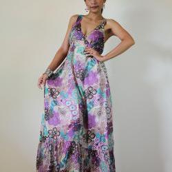 Boho Maxi Dress Cotton Bohemian Sleeveless Long gown : Kiss of the Sun Collection