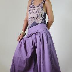 Purple Pants - Wide Leg Pants Cotton Linen Casual Wear : Soul of the Orient Collection