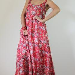 Red Maxi Dress Bohemian Sleeveless Flower Print Long Dress  : Hippie Chickie Collection