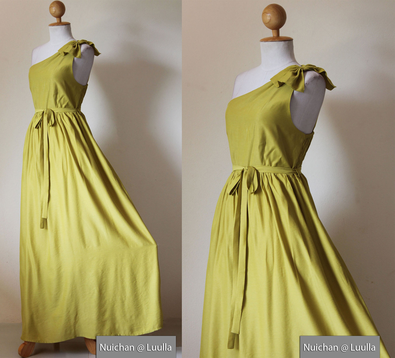 896a7b972e7 One Shoulder Dress - Bridesmaid Dress Long Evening Gown Green Yellow Maxi  Dress   Prom Queen Collect on Luulla