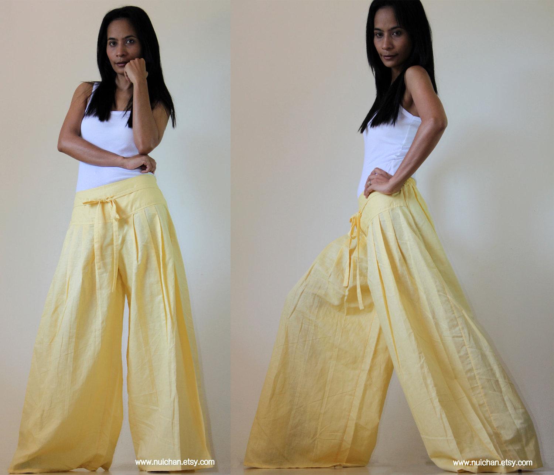 light yellow wide leg pants cotton linen casual wear : soul of the