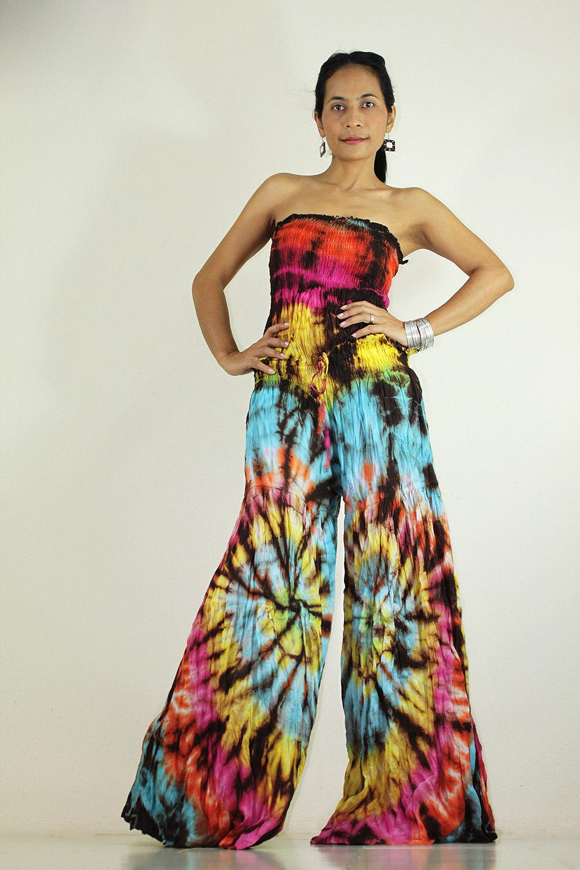Jumpsuit Tie Dye Hippie Boho Jumper Tube Maxi Dress
